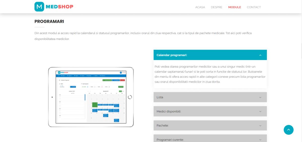 Medshop App - content and copywriting website